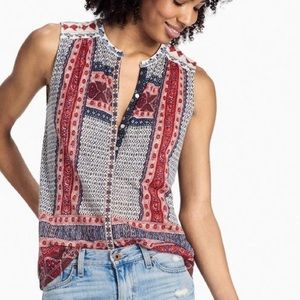 Lucky Brand Embroidered Boho Tank Size Small